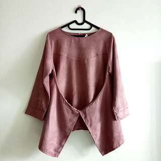 NEW SUEDE BLOUSE DUSTY PINK - WITH TAG