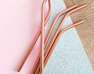 Rose Gold Reusable Metal Straws