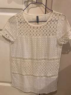 100% auth Nafnaf lace top. Off white. Small. New. Srp 900