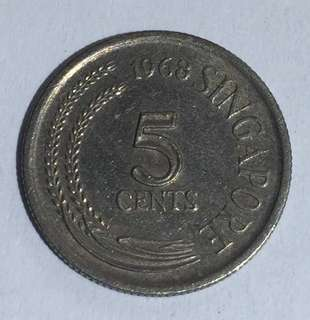 1968 Singapore 5 Cents Coin