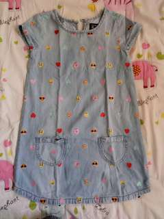Cute denim dress with emoji prints