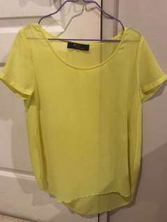People are People chiffon top yellow XS unused srp 700