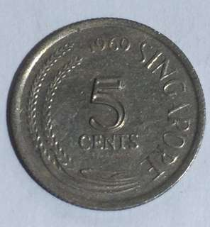 1969 Singapore 5 Cents Coin