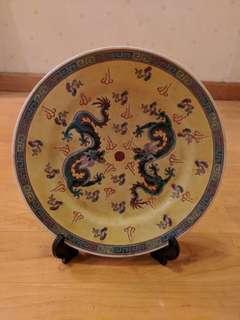 中國景德鎮雙龍古董碟 Antique dragon dish