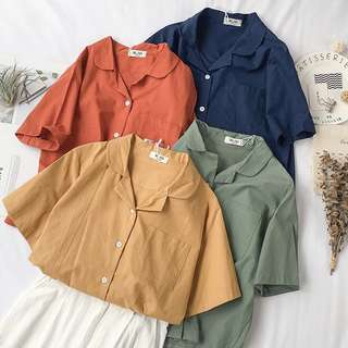 po | basic button up top / blouse