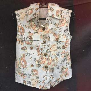 Floral Sleeveless Polo