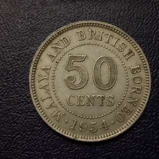 50cent queen malaya 1954 vfine