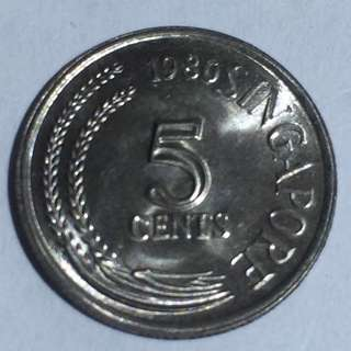 1980 Singapore 5 Cents Coin