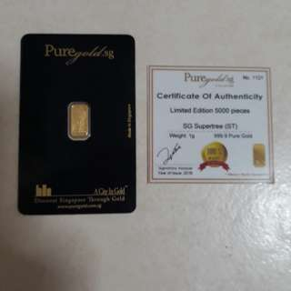 Limited edition of 1g 999.9 pure gold  (Garden by the Bay)