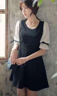 🚚 韓版蝴蝶結連衣裙洋裝黑白