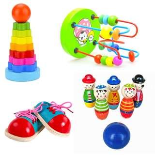 Stacker Bead Maze Shoe Lacing Bowling Toy Toddler Bundle 3