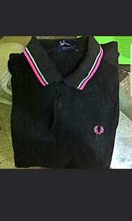 Authentic black fred perry polo tee