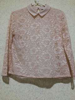 Miss Selfridge Pink lace blouse