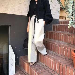 正韓貨 高腰 寬褲 闊腿褲 白色 X 米色腰帶
