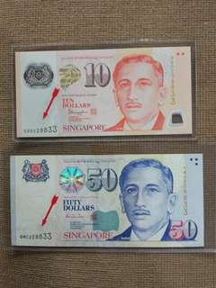 Sg $50 $10 Identical doubles number set 228833