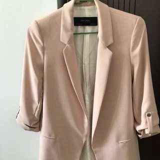 zara 粉紅色反折七分袖長版西裝外套