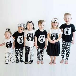 0-6year Baby boy girl Tshirt Lettet Age Printed Cotton Summer Shirt