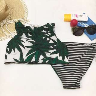 Tropical/Striped Reversible Halter Bikini