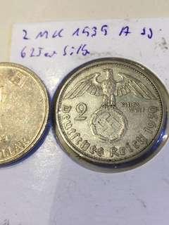 1939年 德國 2馬克 銀幣