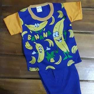 3 setel baju anak setelan banana