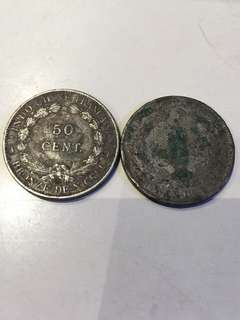 1946年 法屬安南 Indochine 50 Cents 兩個
