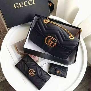 GUCCI GG Marmont Matelassé Chain Shoulder Bag & Wallets (SET)