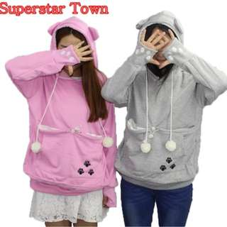 Cat Lovers Hoodies With Cuddle Pouch Dog Pet Hoodies For Casual Kangaroo Pullovers With Ears Sweatsh