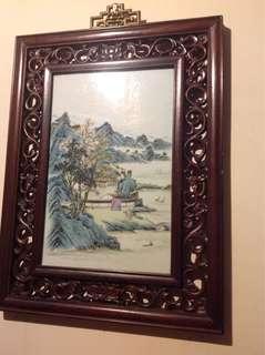清朝瓷板画-供赏