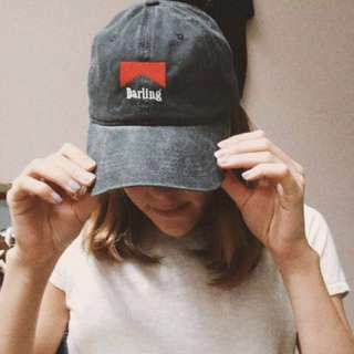 authentic brandy melville darling embroidered grey red baseball cap #easter20
