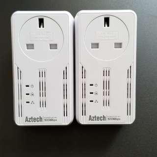 Aztech 500Mbps Homeplug HL115EP 一對