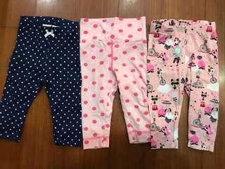 H&M 4-6M 寶寶長褲 三件$150