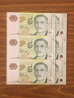 Fixed Price - Singapore Portrait Series $5 Polymer Banknote 3 in 1 Uncut Sheet 2 Runs