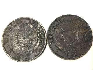 1893年 阿根廷 10 Cents 銅幣2個