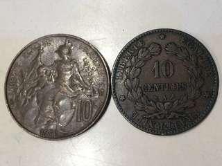 1897 及 1911年 法國 10 cents 銅幣2個