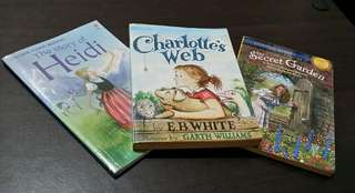 3 Books for Grade School Book Reports: Charlotte's Web, The Story of Heidi (Usborne Young Reading), The Secret Garden (Stepping Stones)