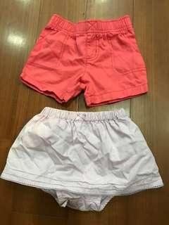 Carter's 9M 寶寶短褲&褲裙各一