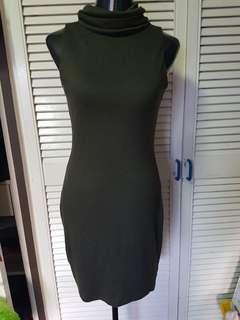 Army green high neck dress