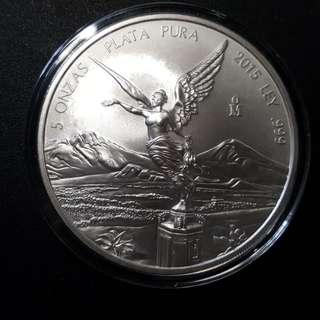 2015 Mexico 5 oz Silver Libertad Coin