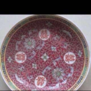 Red vintage plate