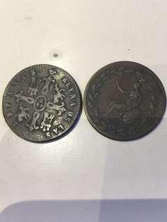 古老 歐洲 錢幣 2個