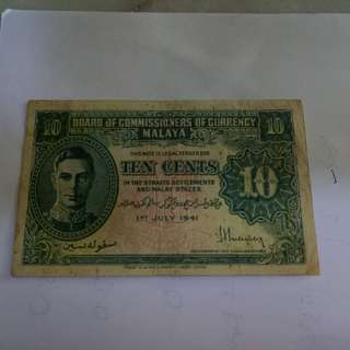 10cent 1941 malaya note  vfine