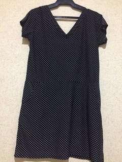 Black polka dot V neck dress