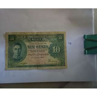 10cent 1941 malaya notes  vfine