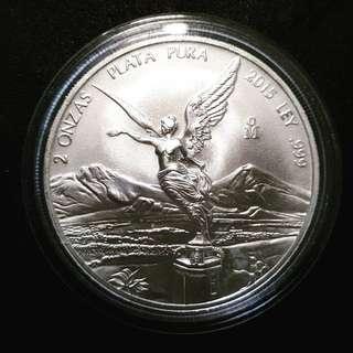 2015 Mexico 2 oz Silver Libertad coin