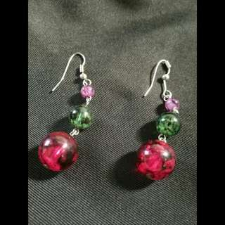 Colored bead earrings