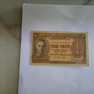 1cent 1941 malaya notes vfine