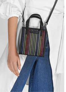 Charles and Keith STRIPED MESH TOP HANDLE BAG