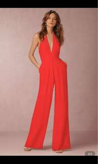 Halterneck deep v neck jumpsuit size m available in red colour only