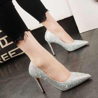 Silver crystal high heels