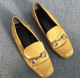 GUCCI Horsebit Mustard Loafers